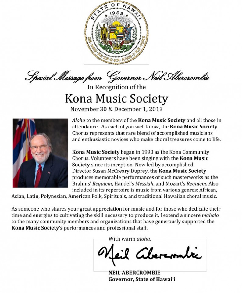A Special Message from Governor Neil Abercrombie